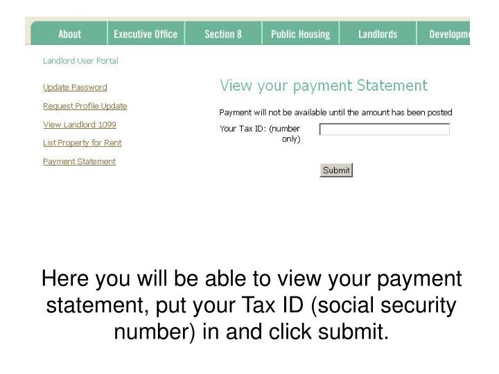 Here you will be able to view your payment statement, put your Tax ID (social security number) in and click submit.