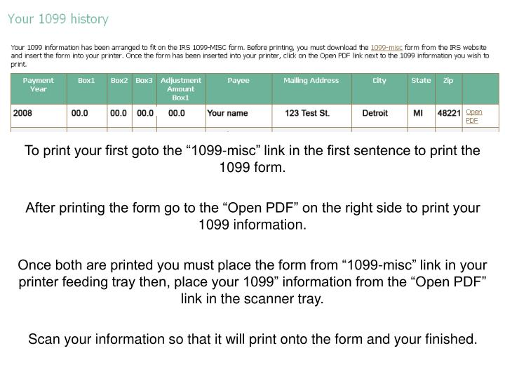 """To print your first goto the """"1099-misc"""" link in the first sentence to print the 1099 form."""