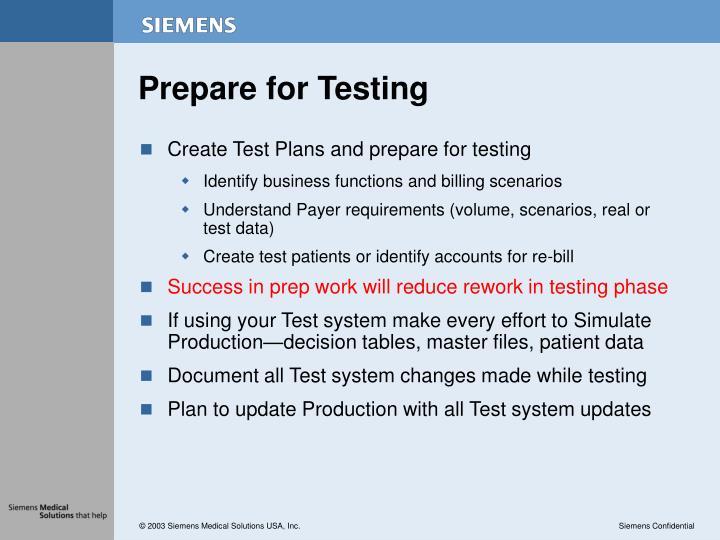 Prepare for Testing