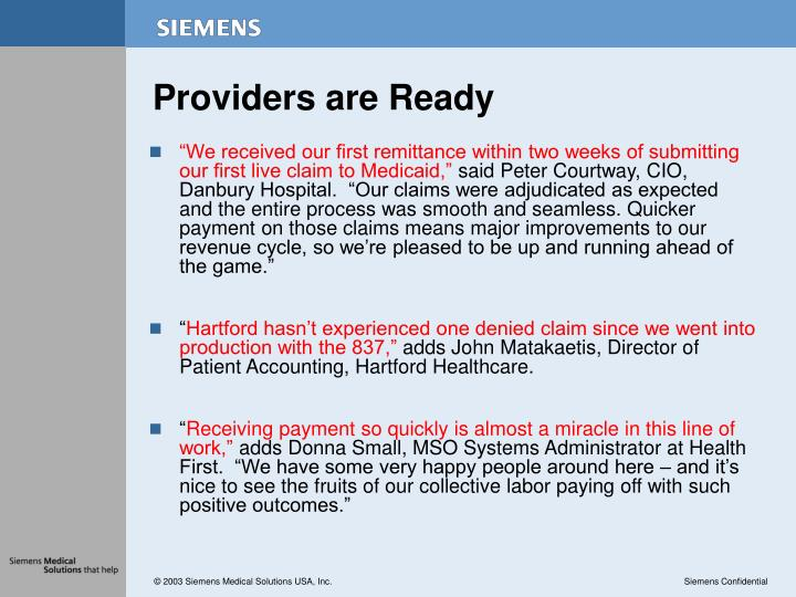 Providers are ready