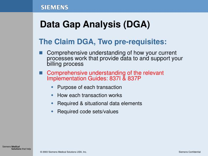 Data Gap Analysis (DGA)
