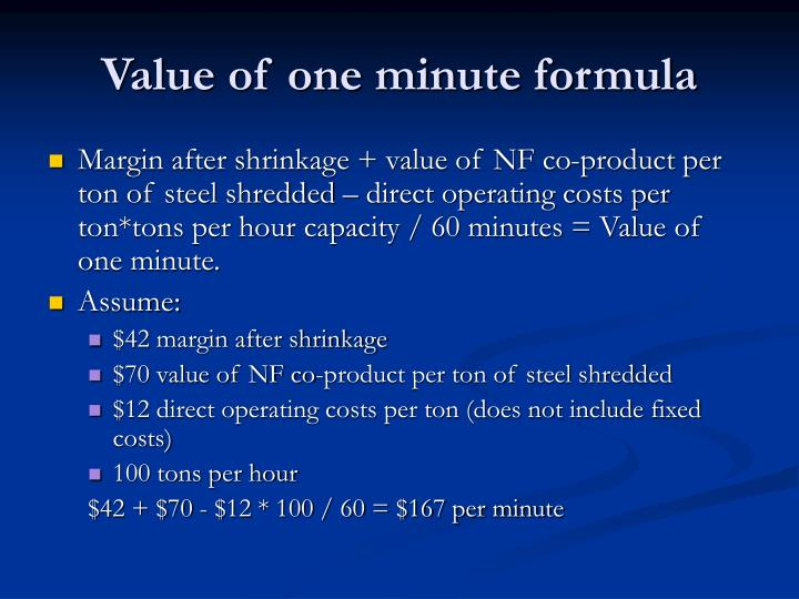 Value of one minute formula