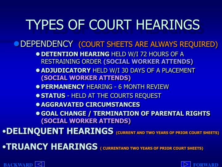 TYPES OF COURT HEARINGS