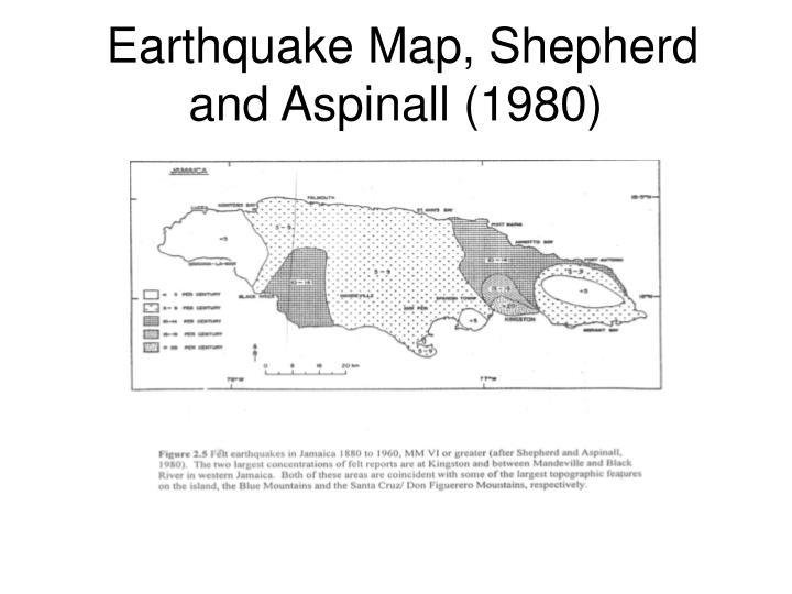 Earthquake Map, Shepherd and Aspinall (1980)