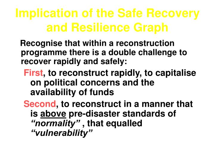 Implication of the Safe Recovery and Resilience Graph
