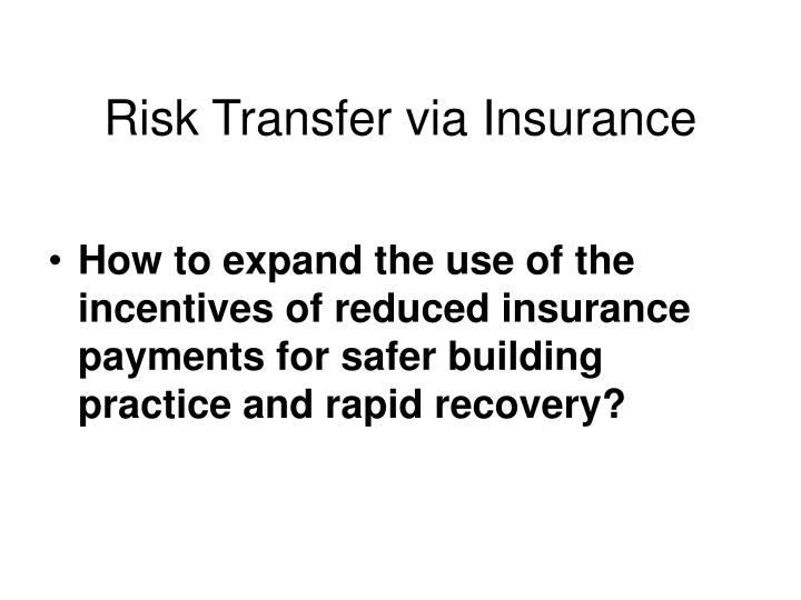 Risk Transfer via Insurance