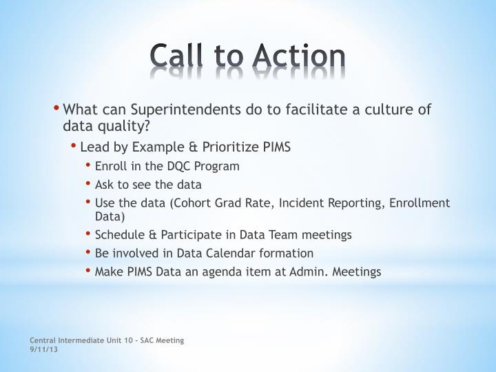 What can Superintendents do to facilitate a culture of data quality?