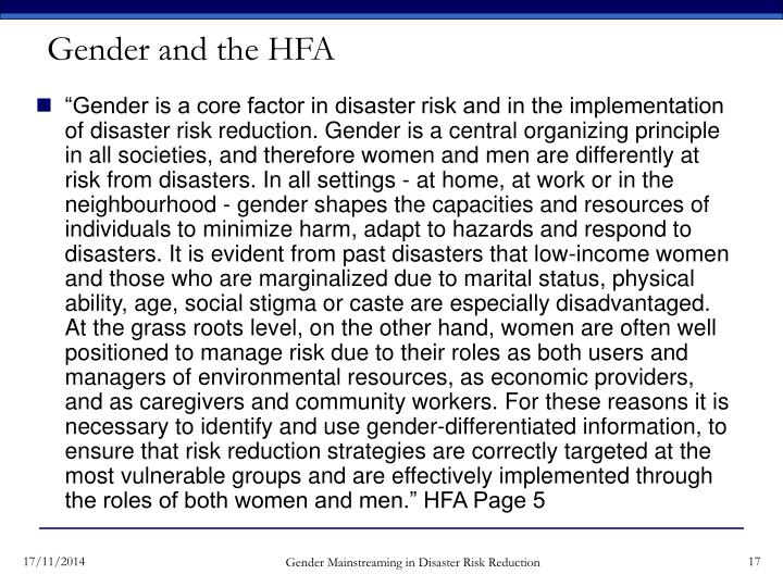 Gender and the HFA