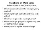 variations on word sorts refer to the list in your reading guide