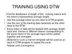 training using dtw