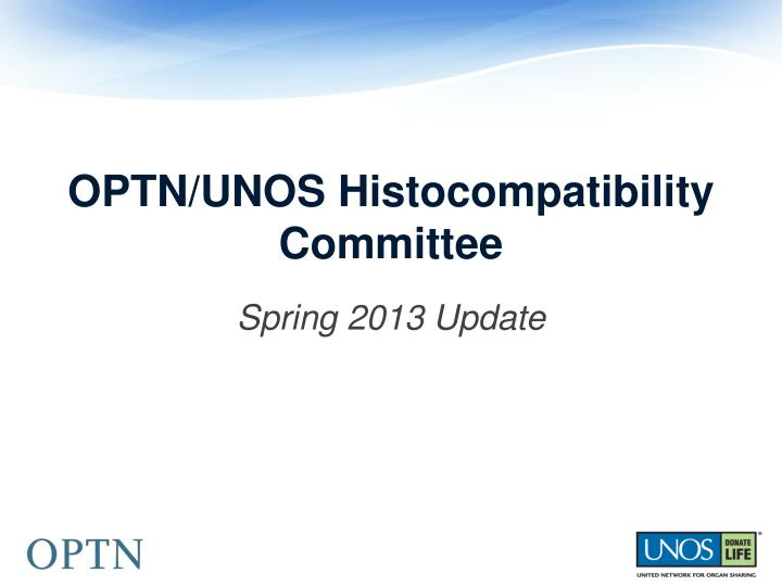 Optn unos histocompatibility committee