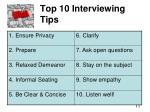 top 10 interviewing tips