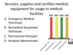 services supplies and certifies medical equipment for usage in medical facilities