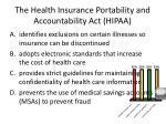 the health insurance portability and accountability act hipaa