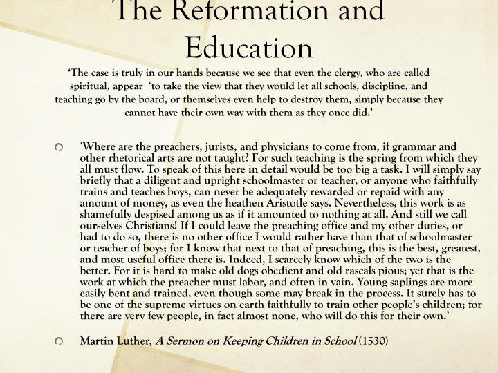 The Reformation and Education