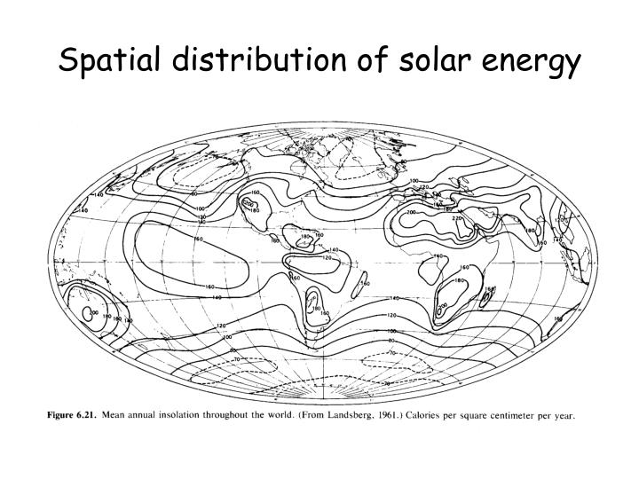 Spatial distribution of solar energy