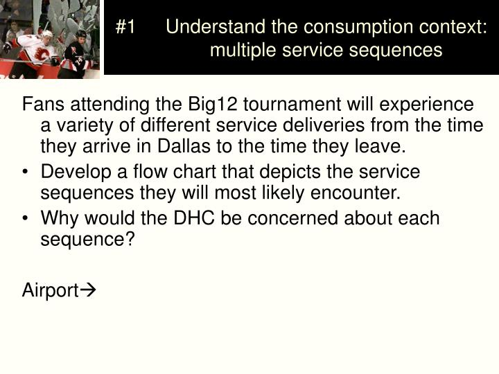 #1	Understand the consumption context: 	multiple service sequences