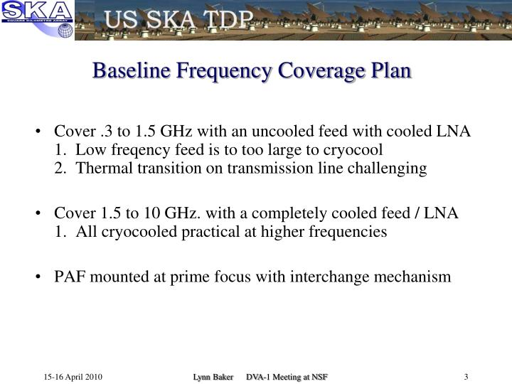 Baseline frequency coverage plan