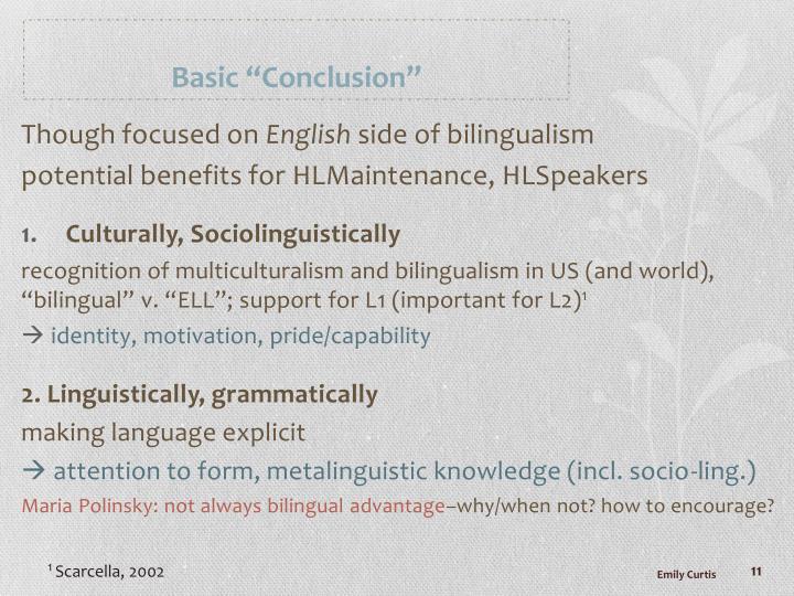 "Basic ""Conclusion"""