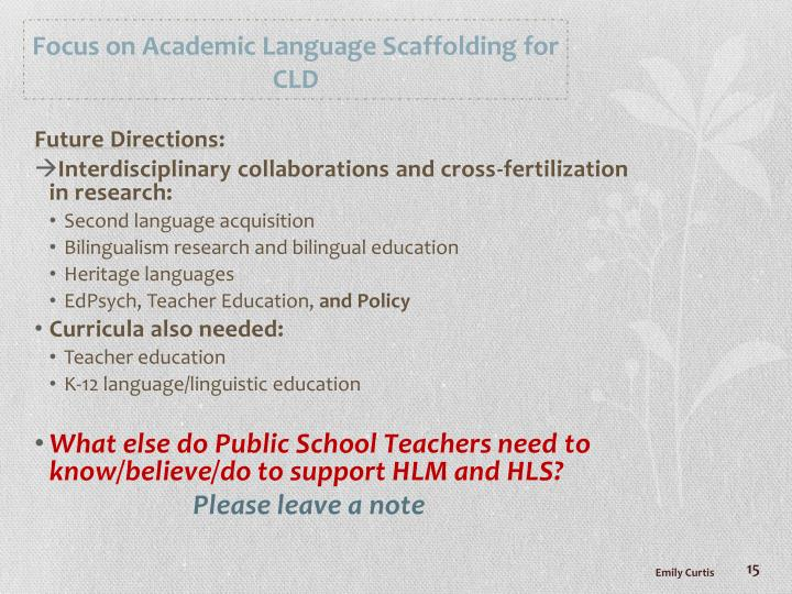 Focus on Academic Language Scaffolding for CLD