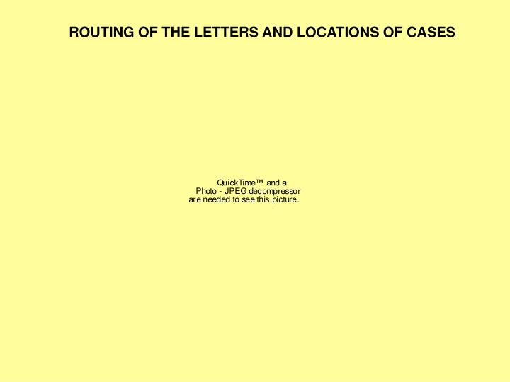 ROUTING OF THE LETTERS AND LOCATIONS OF CASES