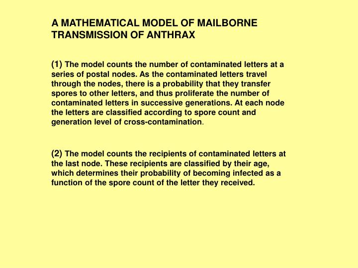 A MATHEMATICAL MODEL OF MAILBORNE TRANSMISSION OF ANTHRAX