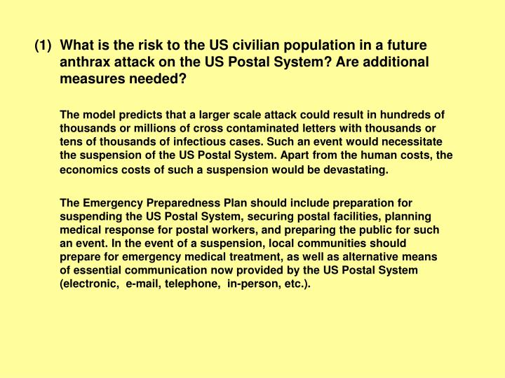 What is the risk to the US civilian population in a future anthrax attack on the US Postal System? Are additional measures needed?