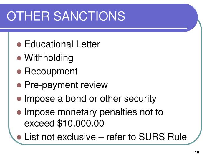 OTHER SANCTIONS