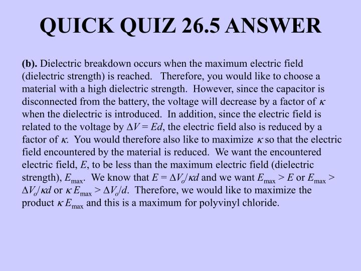 QUICK QUIZ 26.5 ANSWER