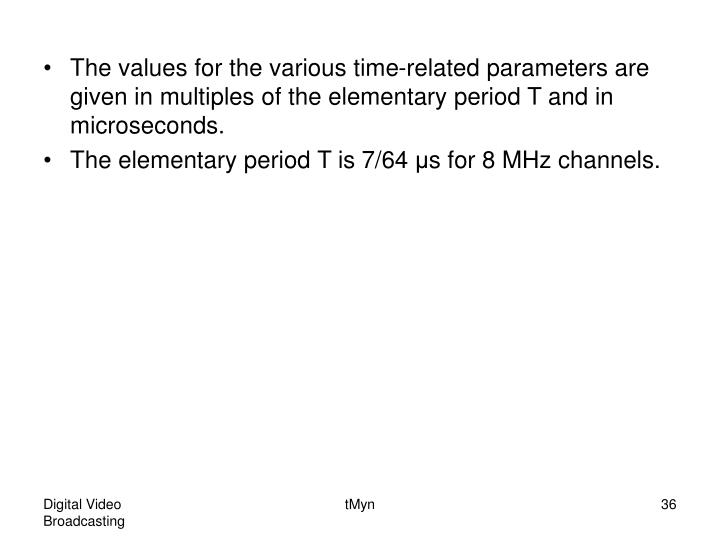 The values for the various time-related parameters are given in multiples of the elementary period T and in microseconds.