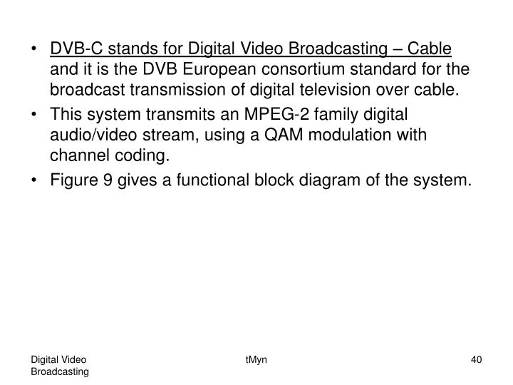 DVB-C stands for Digital Video Broadcasting – Cable