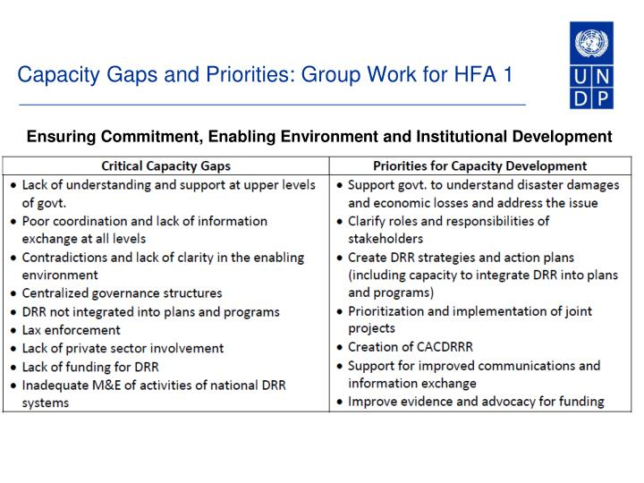 Capacity Gaps and Priorities: Group Work for HFA 1