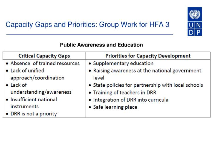 Capacity Gaps and Priorities: Group Work for HFA 3