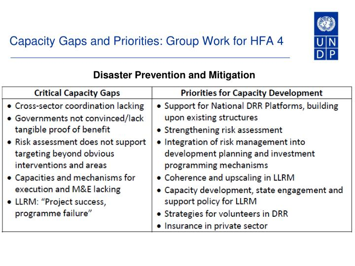 Capacity Gaps and Priorities: Group Work for HFA 4