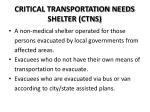 critical transportation needs shelter ctns