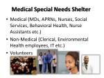 medical special needs shelter