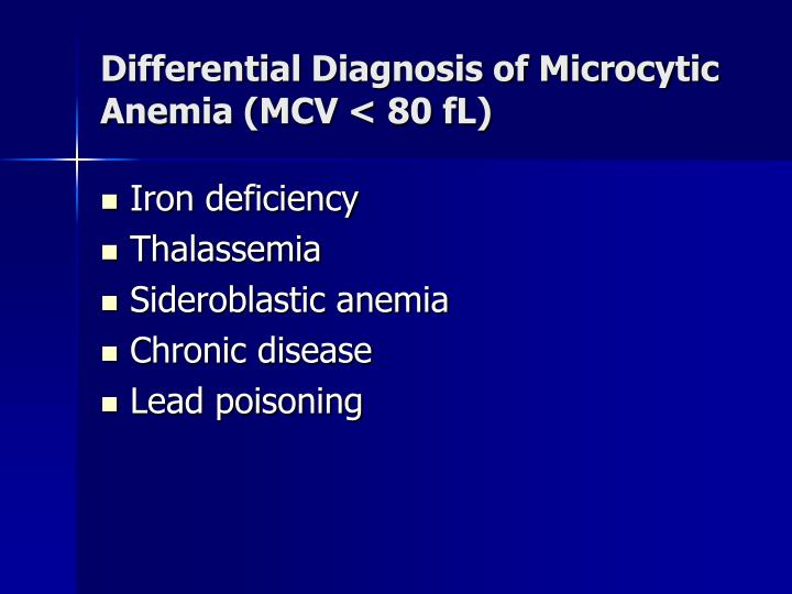 Differential Diagnosis of Microcytic Anemia (MCV < 80 fL)