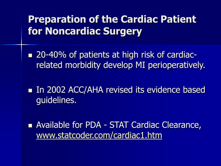 Preparation of the Cardiac Patient for Noncardiac Surgery