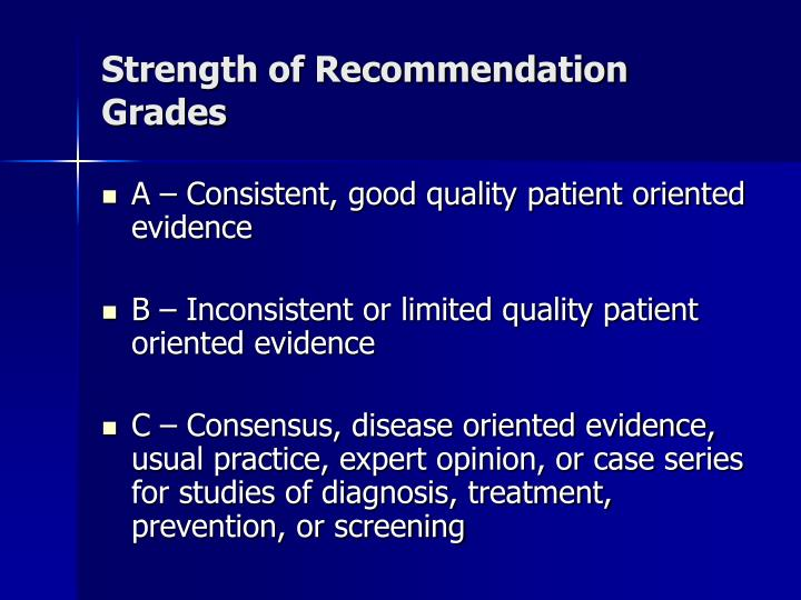 Strength of recommendation grades