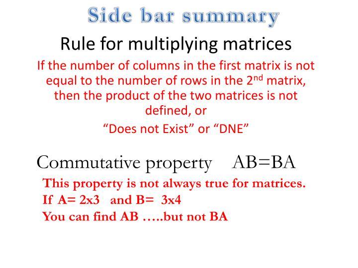 Side bar summary