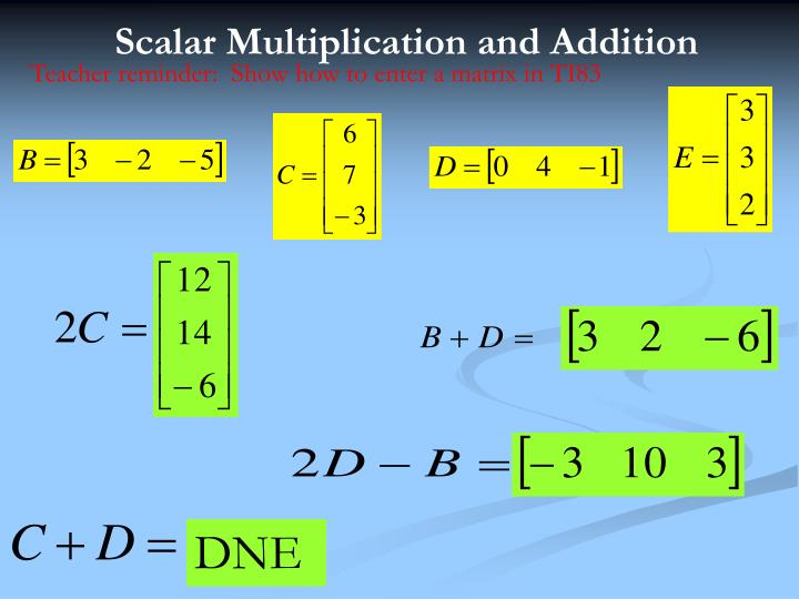Scalar Multiplication and Addition