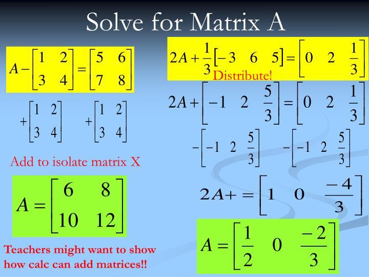 Solve for Matrix A