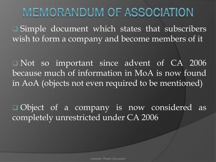 Simple document which states that subscribers wish to form a company and become members of it