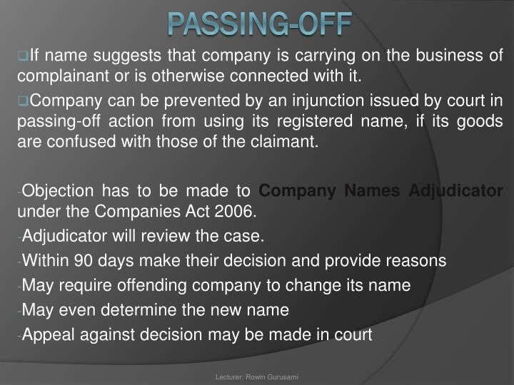 If name suggests that company is carrying on the business of complainant or is otherwise connected with it.