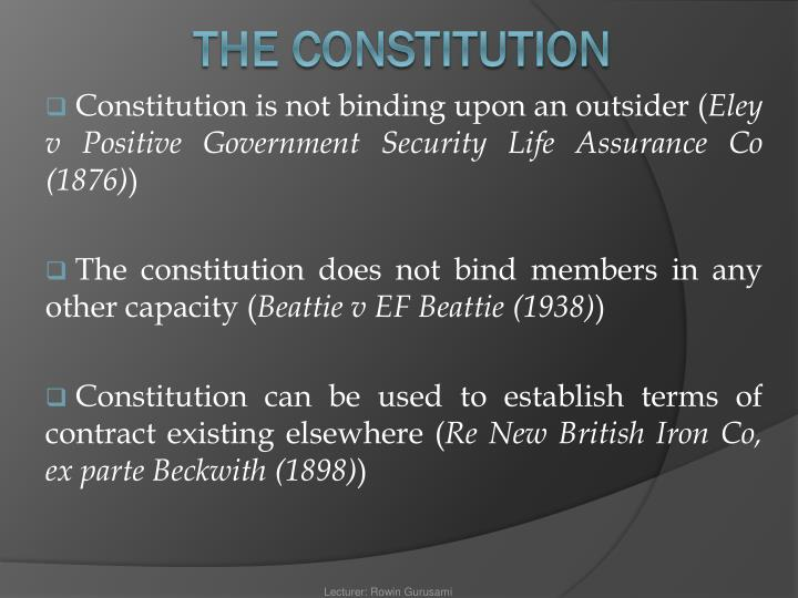 Constitution is not binding upon an outsider (
