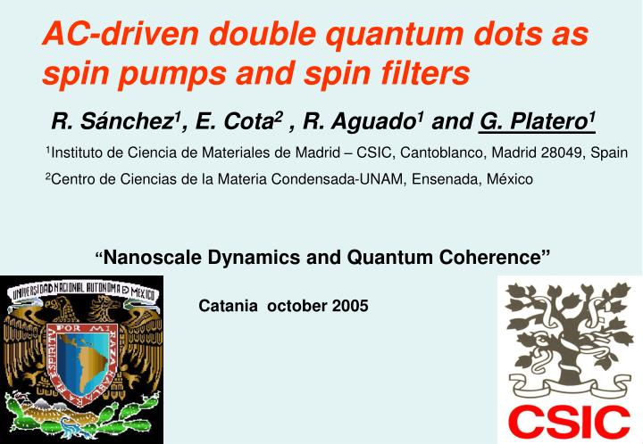 AC-driven double quantum dots as spin pumps and spin filters