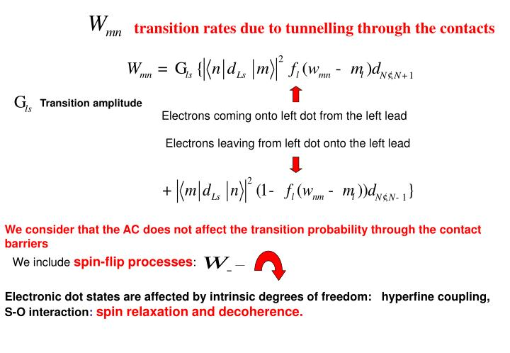 transition rates due to tunnelling through the contacts