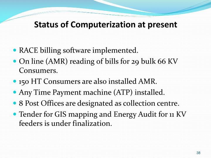 Status of Computerization at present
