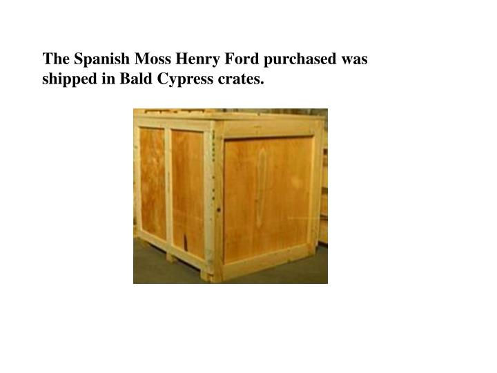 The Spanish Moss Henry Ford purchased was shipped in Bald Cypress crates.