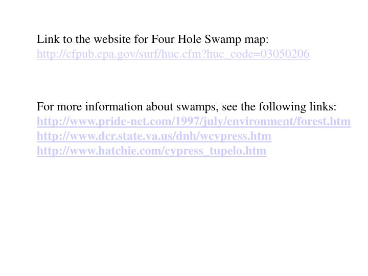 Link to the website for Four Hole Swamp map: